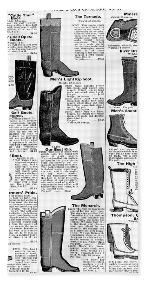 1895 Beach Towel featuring the photograph Boots Advertisement, 1895 by Granger