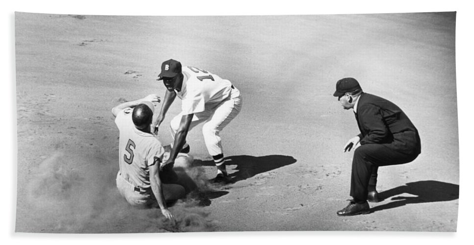 1961 Beach Towel featuring the photograph Boston: Baseball Game, 1961 by Granger
