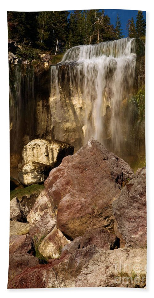 Paulina Falls Beach Towel featuring the photograph Boulders Under The Falls by Adam Jewell