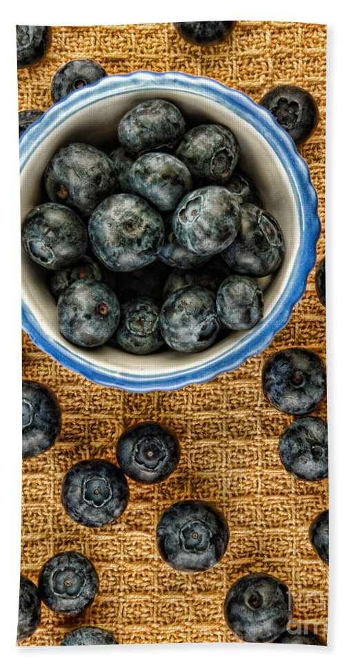Blueberries Beach Towel featuring the photograph Bowl Of Fresh Blueberries by Jill Battaglia