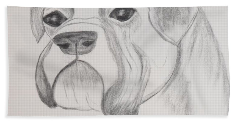 Boxer Beach Towel featuring the drawing Boxer No Crop by Maria Urso