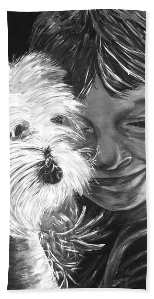 Dogs Beach Towel featuring the painting Boy With Pet Dog by Karen Elzinga