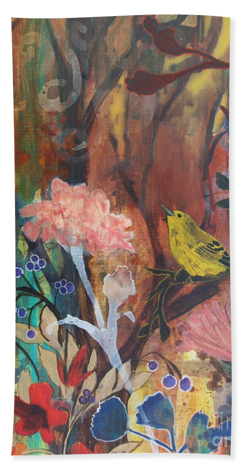Bird Beach Towel featuring the painting Breath Of Cooler Air by Robin Maria Pedrero