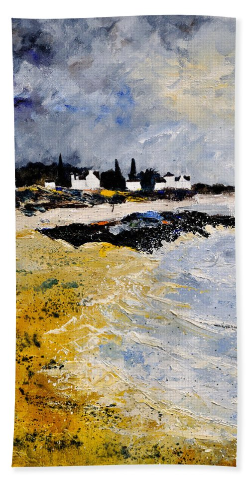 Sescape Beach Towel featuring the painting Bretagne Sascape by Pol Ledent