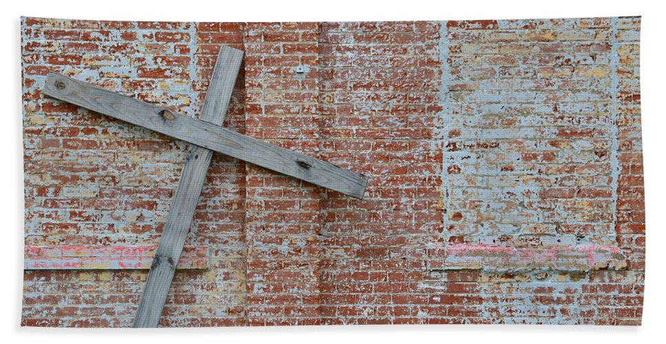 Cross Beach Towel featuring the photograph Brick Wall Cross by Nikki Marie Smith