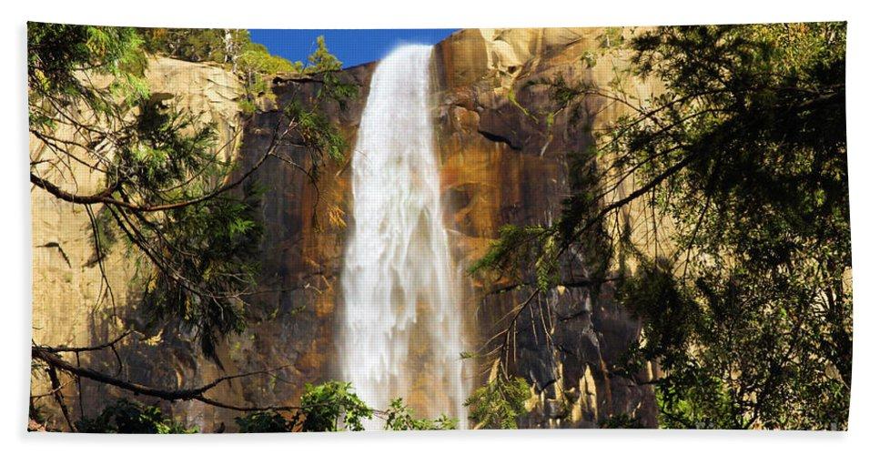 Yosemite National Park Beach Towel featuring the photograph Bridal Veil Falls At Yosemite by Adam Jewell