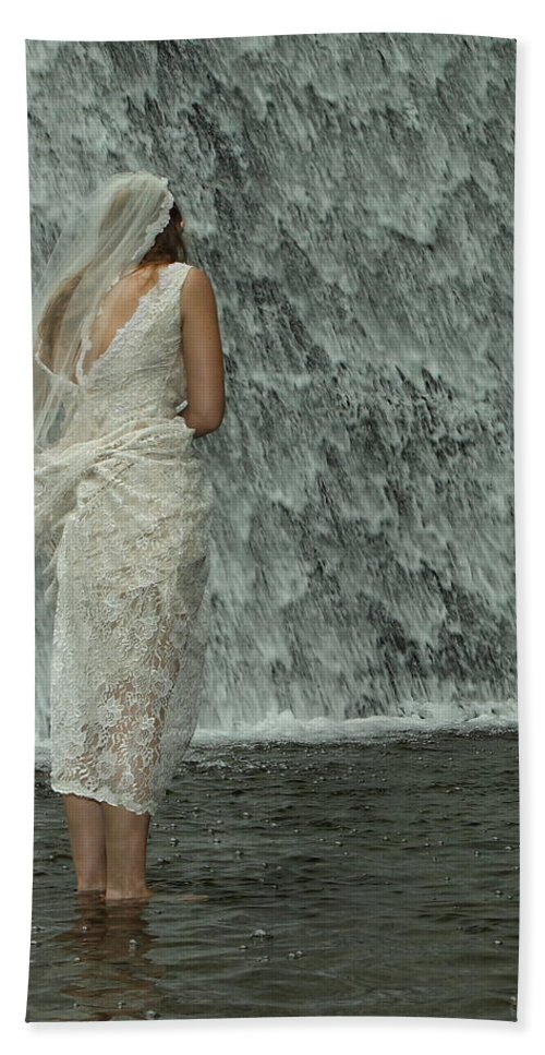 Water Beach Towel featuring the photograph Bride Below Dam by Daniel Reed