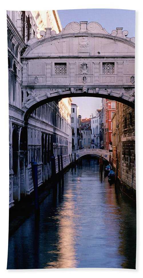 Brigh Of Sighs Beach Towel featuring the photograph Bridge Of Sighs And Morning Colors In Venice by Greg Matchick