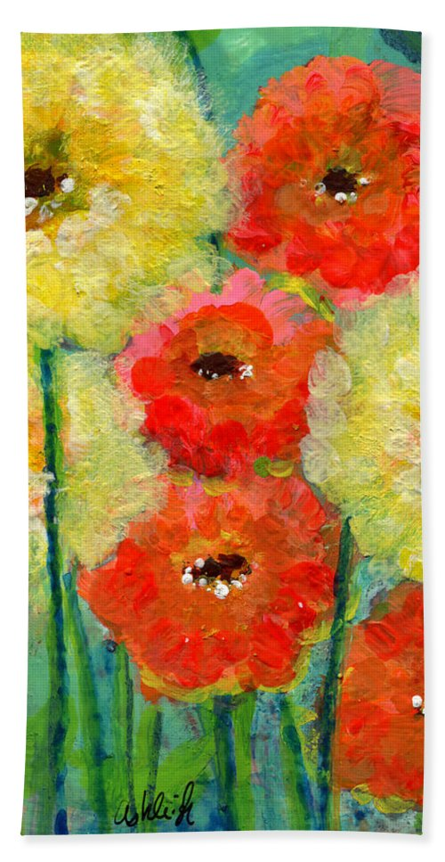 Flowers Beach Towel featuring the painting Bright Colored Flowers Shine by Ashleigh Dyan Bayer