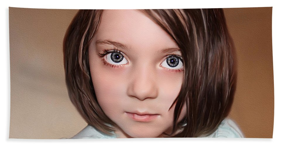 Childrens Portraits Beach Towel featuring the painting Bright Eyes by Tom Schmidt