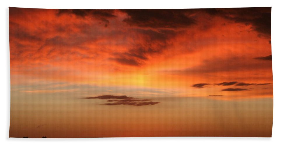Sunrise Beach Towel featuring the photograph Brilliant Sunrise Over Montevideo by Laurel Talabere