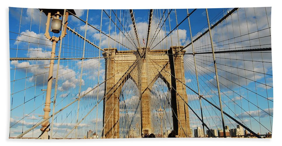 Bridge Beach Towel featuring the photograph Brooklyn Bridge Summer by Stefa Charczenko