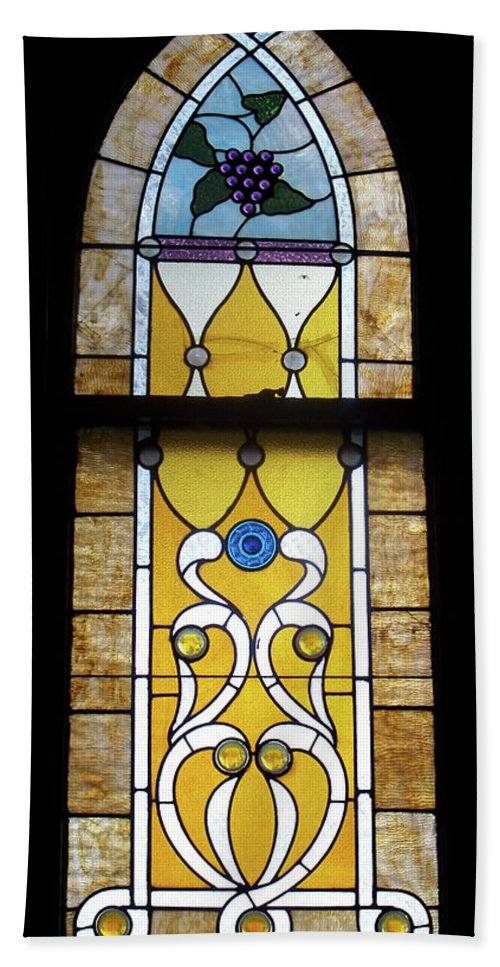 Glass Art Beach Towel featuring the photograph Brown Stained Glass Window by Thomas Woolworth