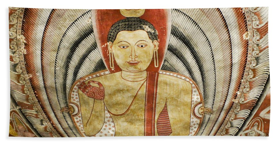 Asia Beach Towel featuring the photograph Buddha Painting in Sri Lanka by Michele Burgess