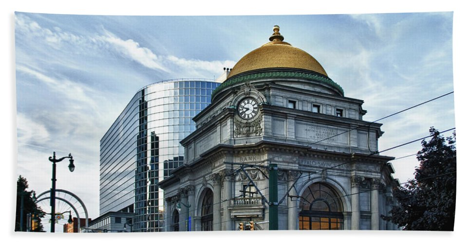 Architecture Beach Towel featuring the photograph Buffalo Savings Bank 11415 by Guy Whiteley