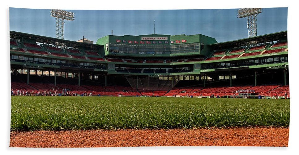 boston Red Sox Beach Towel featuring the Bugs Eye View From Center Field by Paul Mangold