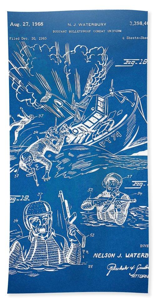 Bulletproof Beach Towel featuring the digital art Bulletproof Patent Artwork 1968 Figures 18 To 20 by Nikki Marie Smith