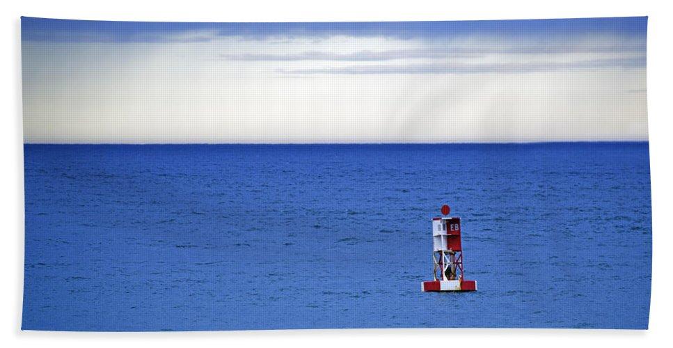 Bass Harbor Head Beach Towel featuring the photograph Buoy Off Bass Harbor Head by Rick Berk