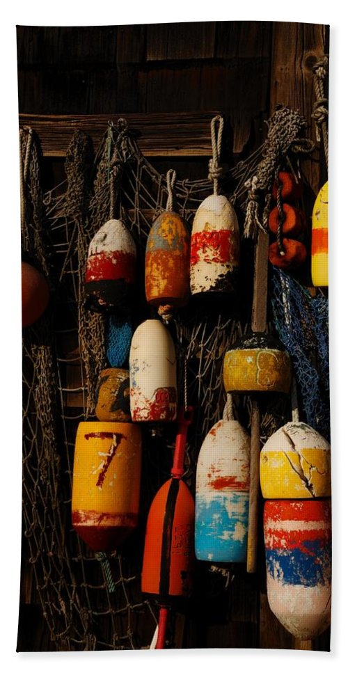 Rockport Beach Towel featuring the photograph Buoys On Fishing Shack - Greeting Card by Mark Valentine