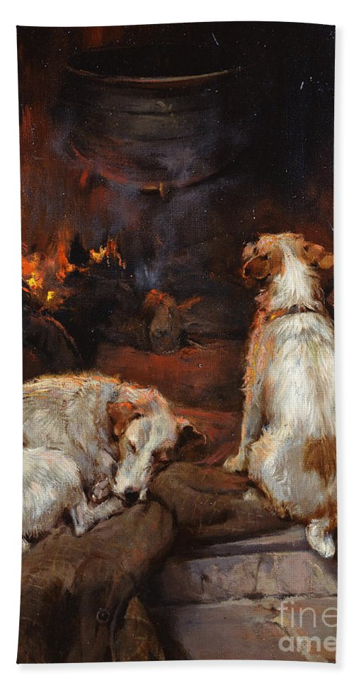 By The Hearth Beach Towel featuring the painting By The Hearth by Philip Eustace Stretton