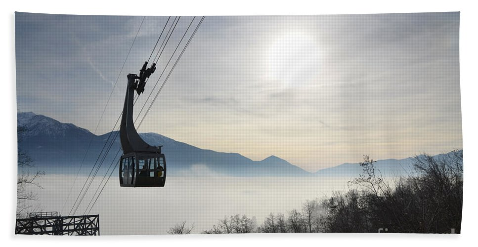 Cableway Beach Towel featuring the photograph Cabelcar by Mats Silvan