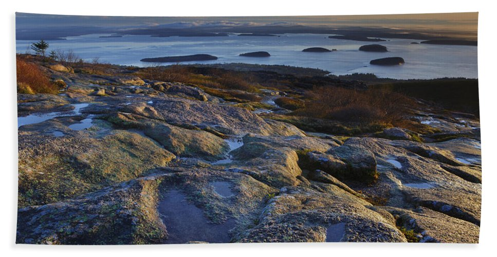 Maine Beach Towel featuring the photograph Cadillac Mountain And Frenchman's Bay by Rick Berk