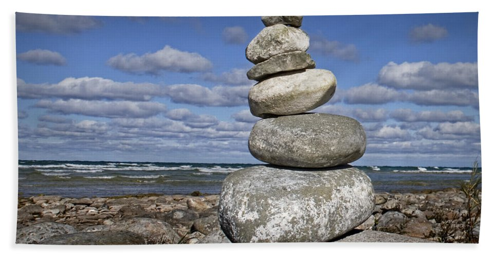 Art Beach Towel featuring the photograph Cairn At North Point On Leelanau Peninsula In Michigan by Randall Nyhof