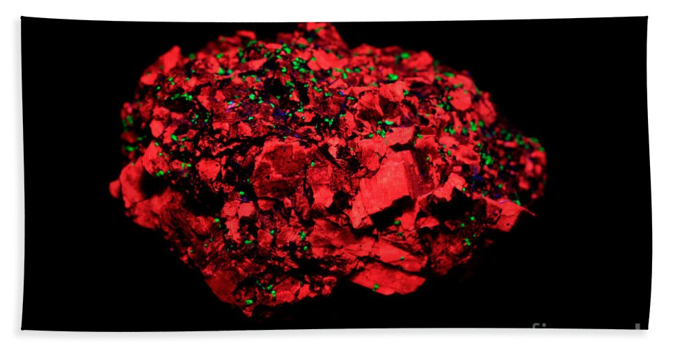 Franklinite Beach Towel featuring the photograph Calcite In Uv Light by Ted Kinsman