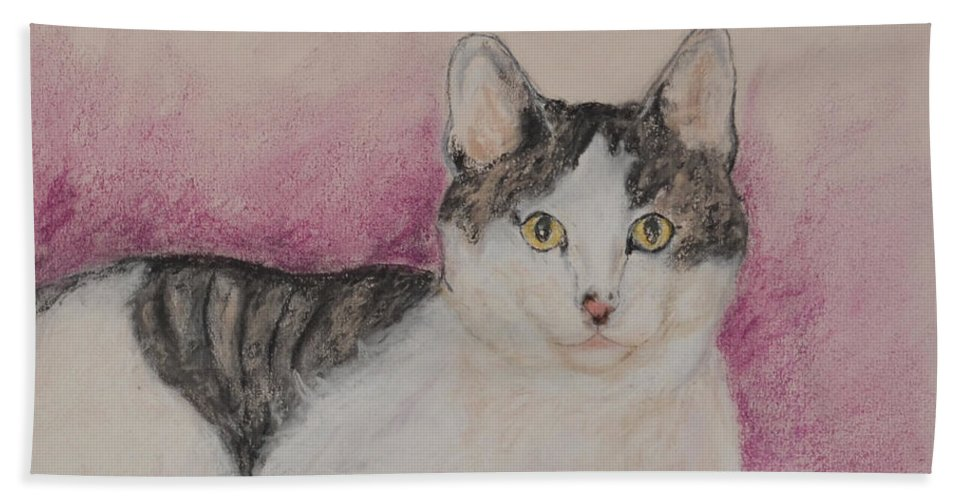 Cat Beach Towel featuring the drawing Cali by Cori Solomon