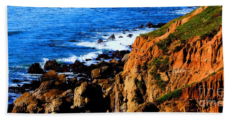 Coastal Photos Beach Towel featuring the photograph California Waterfront by Tap On Photo