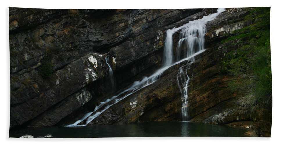 Cameron Falls Beach Towel featuring the photograph Cameron Falls Waterton Lakes National Park by Benjamin Dahl