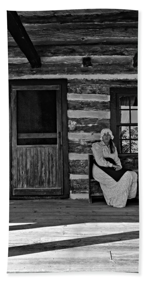 Grey Roots Museum & Archives Beach Towel featuring the photograph Canadian Gothic Monochrome by Steve Harrington