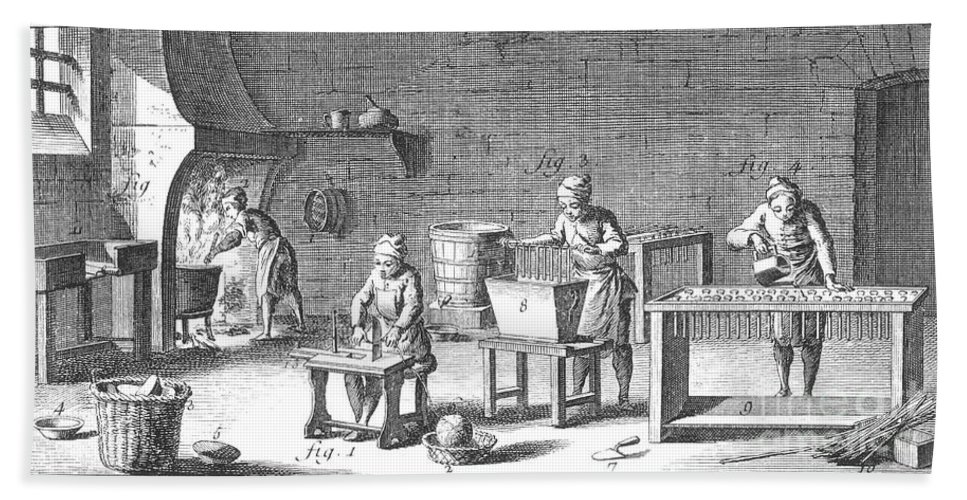 18th Century Beach Towel featuring the photograph Candlemaking, 18th Century by Granger
