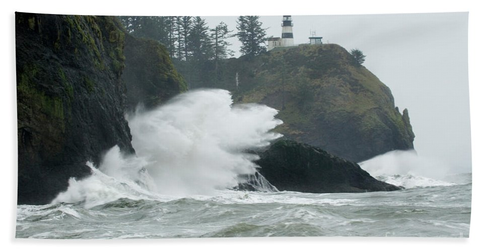 Pacific Ocean Beach Towel featuring the photograph Cape Disappointment Lighthouse by Bob Christopher