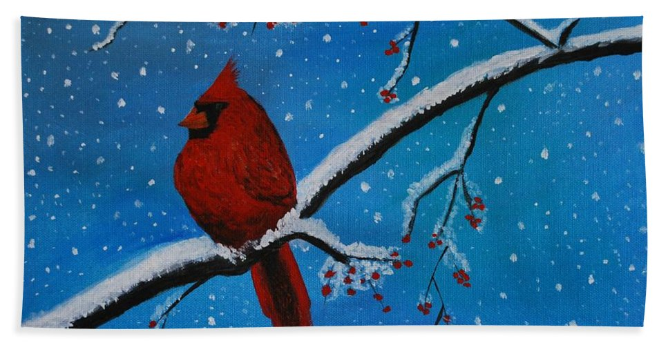 Cardinal Beach Towel featuring the painting Cardinal Christmas by Leslie Allen