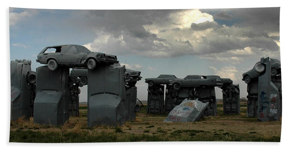 Carhenge Beach Towel featuring the photograph Carhenge by Vivian Christopher