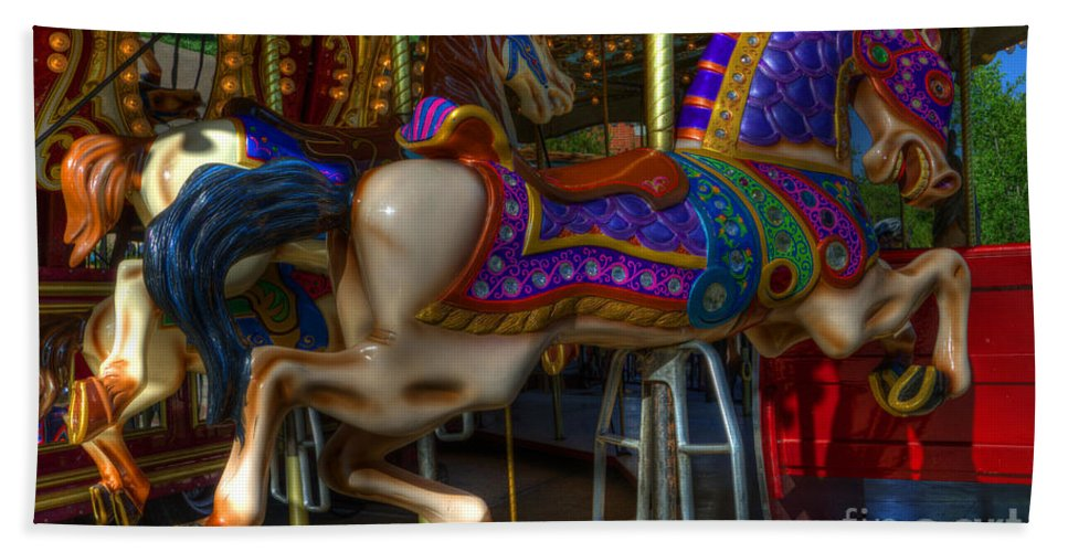 Carousel Beach Towel featuring the photograph Carousel Beauties Going Away by Bob Christopher