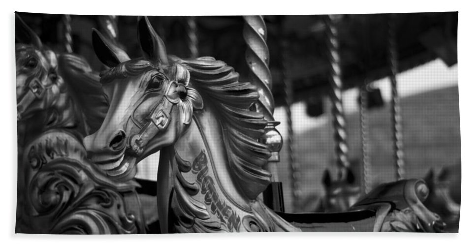 Merry Go Round Horses Beach Towel featuring the photograph Carousel Horses Mono by Steve Purnell