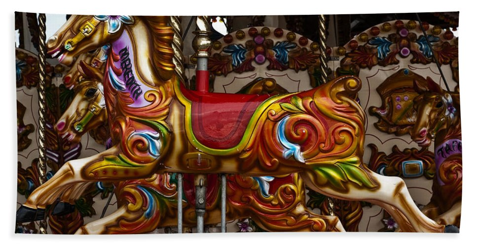Carousel Horses Beach Towel featuring the photograph Carousel Horses by Steve Purnell