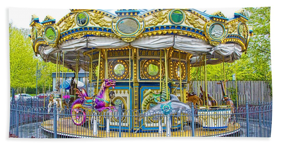 Art Beach Towel featuring the photograph Carousel Ride In Pittsburgh Pennsylvania by Randall Nyhof