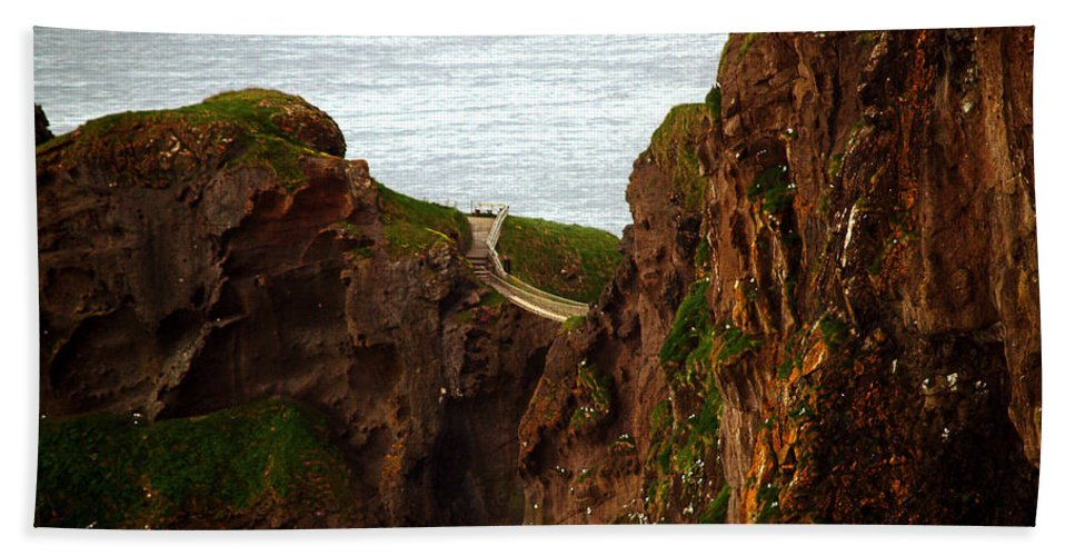 Fine Art Photography Beach Towel featuring the photograph Carrick-a-rede Bridge II by Patricia Griffin Brett