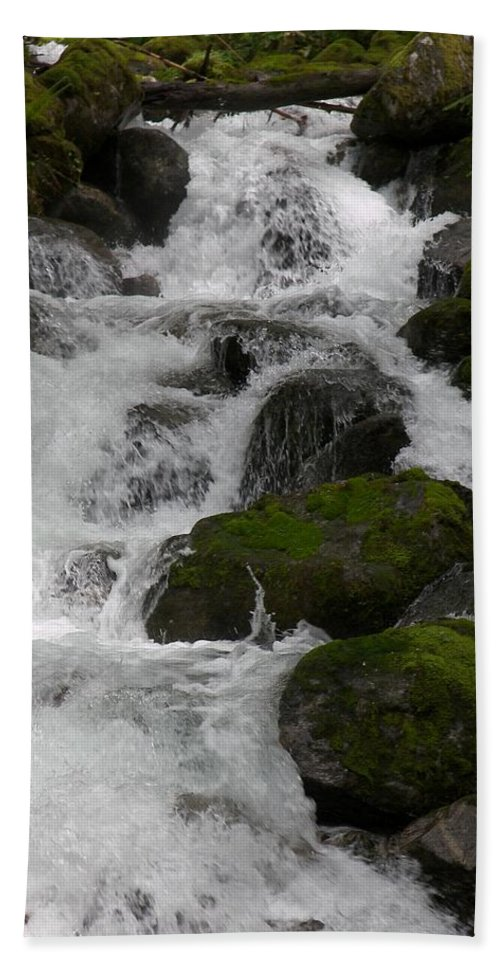 Mossy Rocks With Water Fall Beach Towel featuring the photograph Cascades Below by Christy Leigh