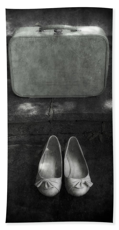 Suitcase Beach Towel featuring the photograph Case And Shoes by Joana Kruse