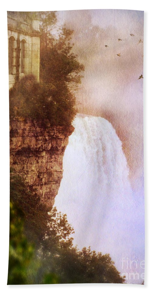 Water Beach Towel featuring the photograph Castle At The Edge Of The Falls by Jill Battaglia