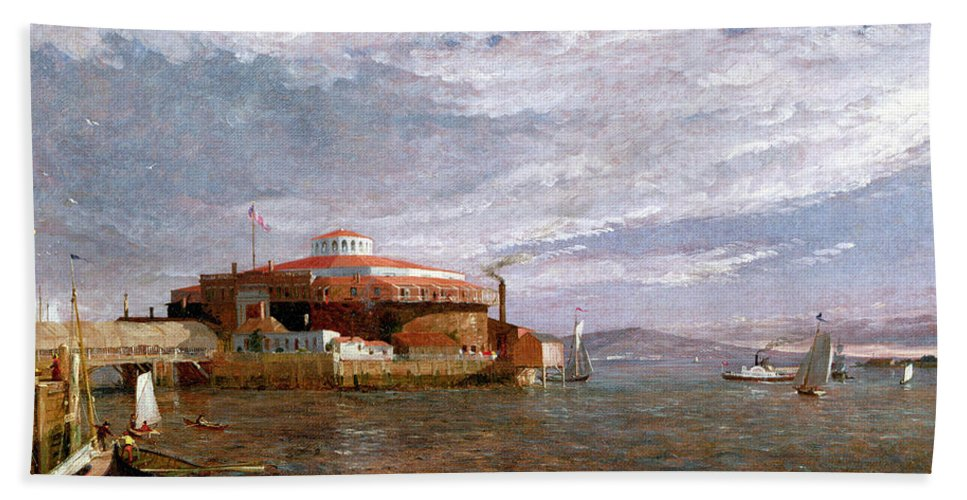 View Beach Towel featuring the painting Castle Garden Day by Jasper Francis Cropsey