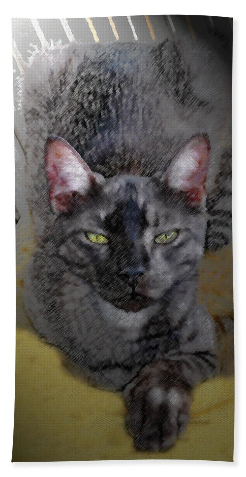 Cat Beach Towel featuring the painting Cat Art Of Relaxing by David Lee Thompson