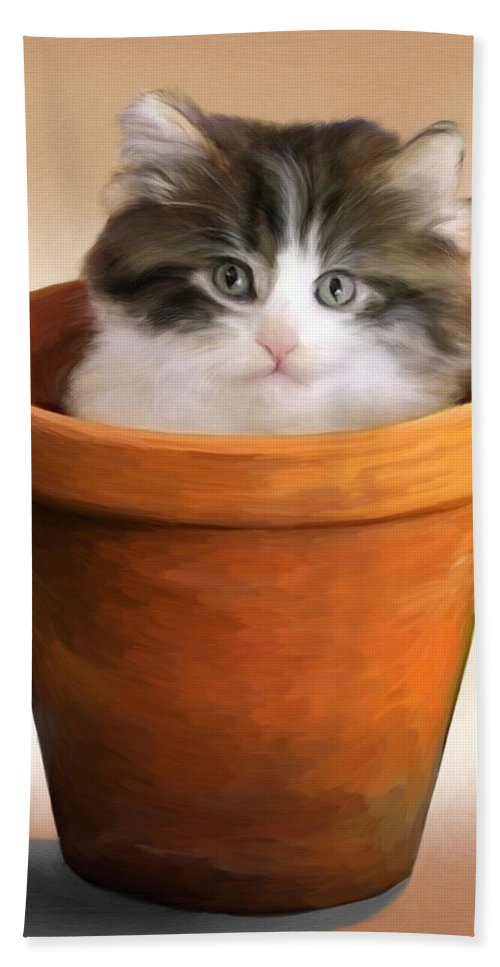 Cat Beach Towel featuring the painting Cat In A Pot by Snake Jagger