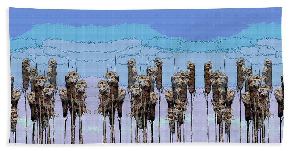 Cattails Beach Towel featuring the digital art Cattail Blues by Tim Allen