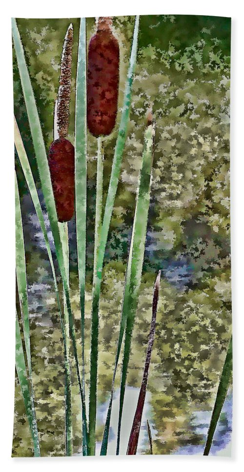 Cattails Beach Towel featuring the photograph Cattails Along The Pond by Don Schwartz