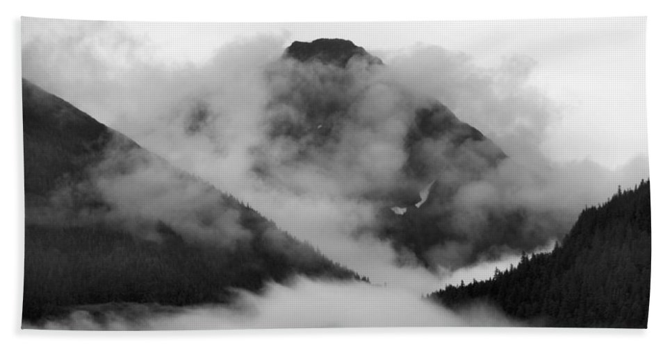 Juneau Beach Towel featuring the photograph Caught Up In The Mist by Kristin Elmquist
